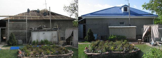 Подшили карнизы дома белым виниловым софитом, установили водосточную систему Gamrat. Дом стал выглядеть солидней. Крыша надежней. Клиент остался доволен.