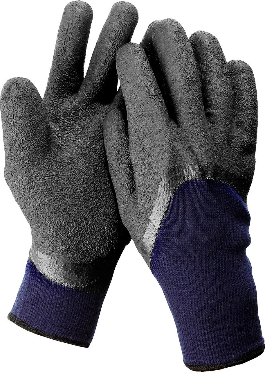 (11466-S) Перчатки утепленные Сибирь, акриловые с вспененным латексным покрытием, двойные, S-M, ЗУБР