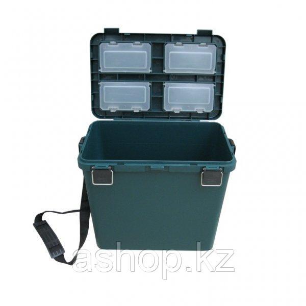 Ящик для замней рыбалки односекционный Helios S, Объем: 19 л, Морозостойкий и ударопрочный ABS-пластик, металл