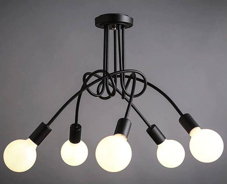 Люстра в стиле Loft черная на 5 лампочек