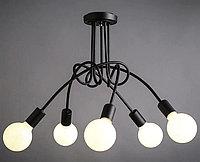 Люстра в стиле Loft черная на 5 лампочек, фото 1