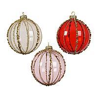Шар стекло прозрачный красный/розовый/перламутровый KA060105