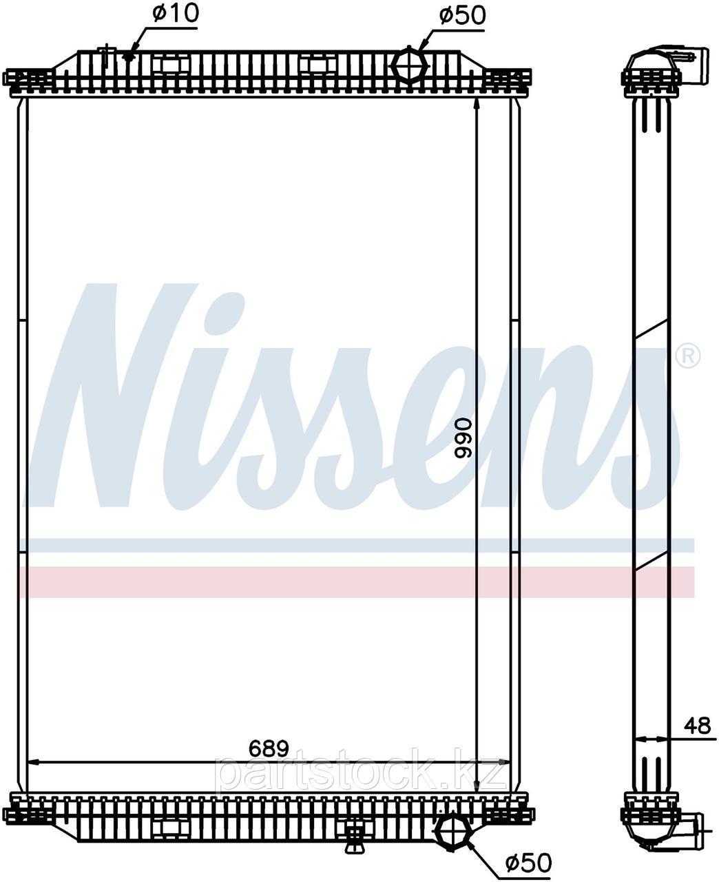 Радиатор водяной (без рамки пластик/алюминий )  990x689x48 на / для RENAULT, РЕНО, NISSENS 637850
