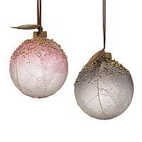 Шар стекло розовый/светло-серый с листьями KA060161