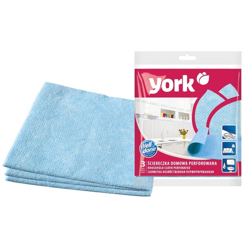 Салфетка для уборки York, перфорированная, 34*35см, 3шт.