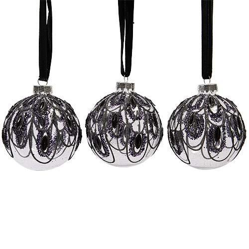 Шар стекло с дизайном павлина черный d8см KA068250