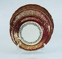 Набор тарелок 6 персон Лист бордовый (Carsbad, Чехия)