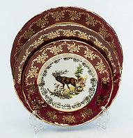 Набор тарелок 6 персон 18 предм Охота Бордовая (Carsbad, Чехия)
