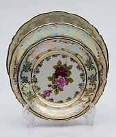 Набор тарелок 6 персон 18 предм Роза перламутровая (Carsbad, Чехия)