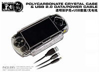 Набор аксессуаров Black Horns PSP Slim 2000/3000 Polycarbonate Crystal Case and Power Cable