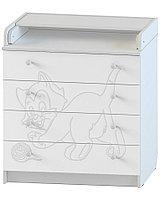 Комод раскладной Атон КР 80/4 ПВХ с рисунком Котёнок белый, фото 1