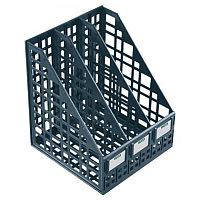 Лоток вертикальный А4, 240мм, 3-х секционный, черный, сборный Стамм