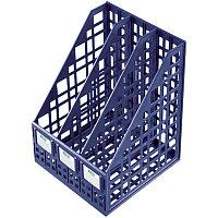 Лоток вертикальный А4, 250мм, 3-х секционный, синий, сборный Стамм