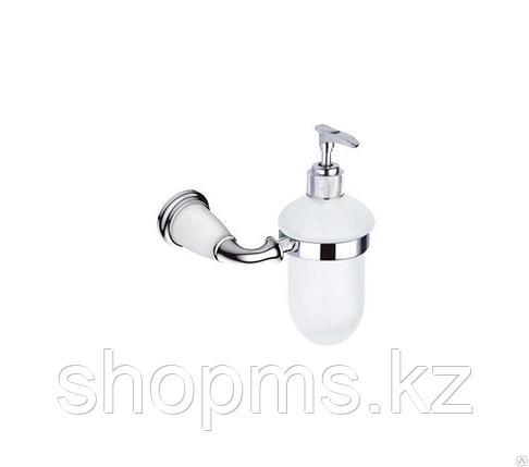 Дозатор для жидкого мыла Potato P7227Х хром с белыми вставками под керамику, фото 2