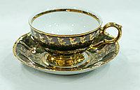Набор чайных пар 6 персон 12 предм Лента золото+черный (Epiag Lofida, Чехия)