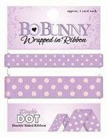 Двустороння лента в горох, примерно по 91 см. Каждая, ширина 1 и 1,5 см. - фиолетовый Bo Bunny