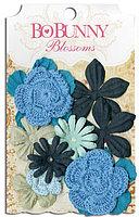 Цветы - джинсовый голубой букет Bo Bunny