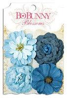 Цветки цинии - голубые, деним Bo Bunny