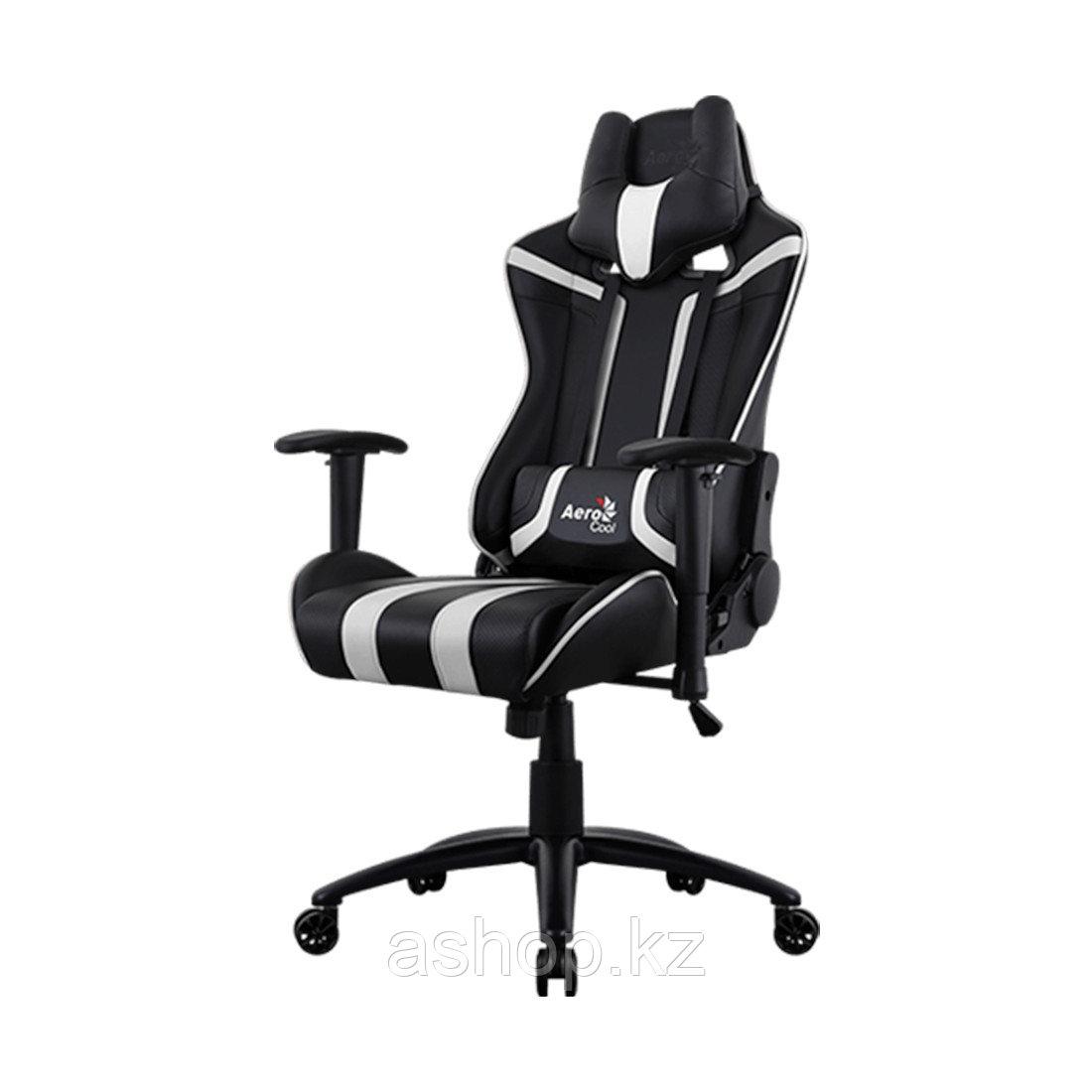 Кресло игровое AeroCool AC120, Нагрузка (max): 150 кг, Подлокотники, Подголовник, Вентиляция, Цвет: Чёрно-белы