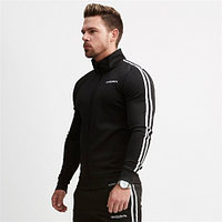 Спортивная куртка с полосками VQ черная 2XL
