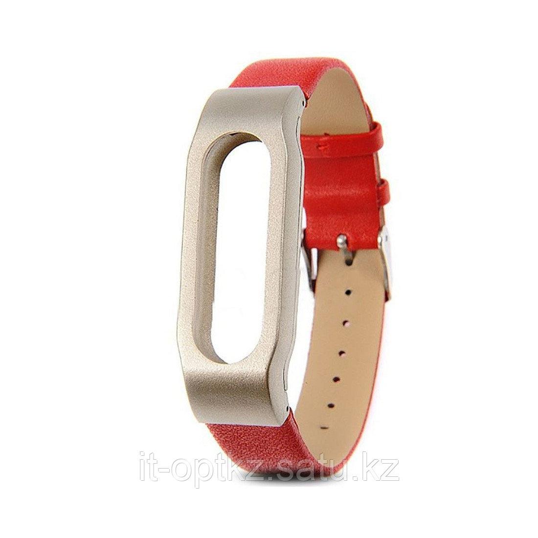 Сменный кожаный браслет для Xiaomi Mi Band 2 Красный