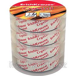 Пакет клейких лент ErichKrause® Crystal, 12ммх33м (4 ленты)