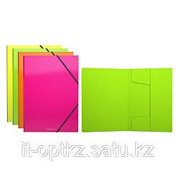 Папка на резинках пластиковая  ErichKrause® Glance Neon, A4, ассорти (в коробке-дисплее по 24 шт.)