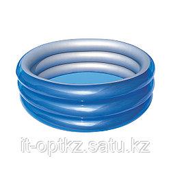 Детский надувной бассейн Big Metallic 3-Ring 170 х 53 см, BESTWAY, 51042, Винил, 697л., 6+, Синий металлик