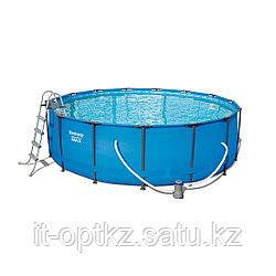 Каркасный бассейн Steel Pro MAX 457 х 107 см, BESTWAY, 56488, 14970 л., Стальной каркас, Насос, Лестница Тент