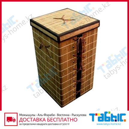 Бак для белья из бамбука с крышкой 60л, фото 2