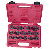 """Набор разрезных ключей 3/8""""&1/2"""" (воронья лапка), 8-24 мм, кейс, 15 предметов МАСТАК 0261-15C, фото 2"""