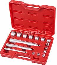 Набор оправок алюминиевых для подшипников, 10-32 мм, кейс, 16 предметов МАСТАК 100-20017C