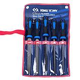 Набор напильников 200 мм, двухкомпонентные рукоятки, 5 предметов KING TONY 1005GQ, фото 2