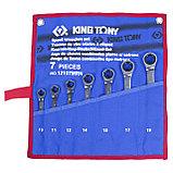 Набор комбинированных трещоточных ключей, 10-19 мм, чехол из теторона, 7 предметов KING TONY 12107MRN, фото 2