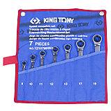 Набор комбинированных трещоточных ключей, 8-19 мм, чехол из теторона, 7 предметов KING TONY 12107MRN01, фото 2