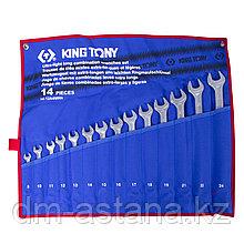 Набор комбинированных удлиненных ключей, 8-24 мм, чехол из теторона, 14 предметов KING TONY 12A4MRN