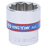 "Головка торцевая стандартная двенадцатигранная 3/8"", 22 мм KING TONY 333022M, фото 2"