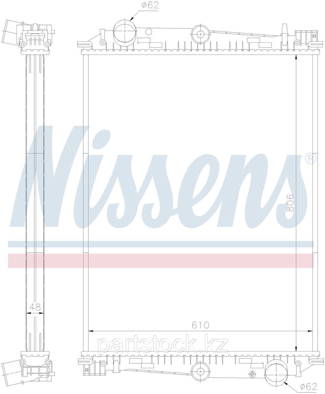 Радиатор водяной (без металической рамки)  806x610x48 на / для DAF, ДАФ, NISSENS 614400