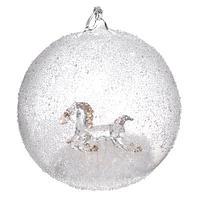 Шар стекло с лошадью внутри и снегом d10см SH31867