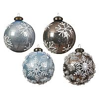 Шар стекло светло-голубой кашемир со снежинками KA060774