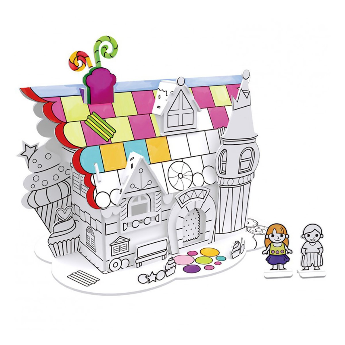 Пазл-раскраска Десертный домик (5 фломастеров)