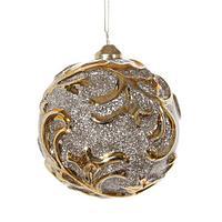 Шар стекло серебристый с блеском и золотыми узорами d10см SH45705
