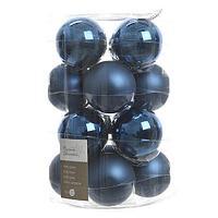 Набор шаров стеклянных, темно-синий глянцевый/матовый KA140746