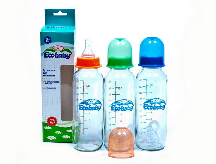 Стеклянная бутылка с силиконовой соской 240 мл