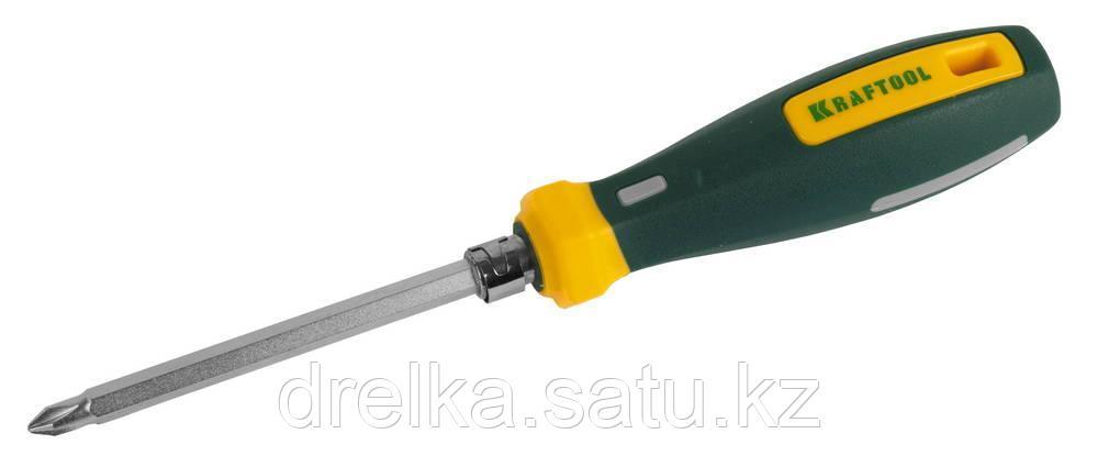Отвертка KRAFTOOL универсальная с двусторонним стержнем, PH № 0-1-2-3, PZ № 1-2-3, SL 6мм, 8-в-1