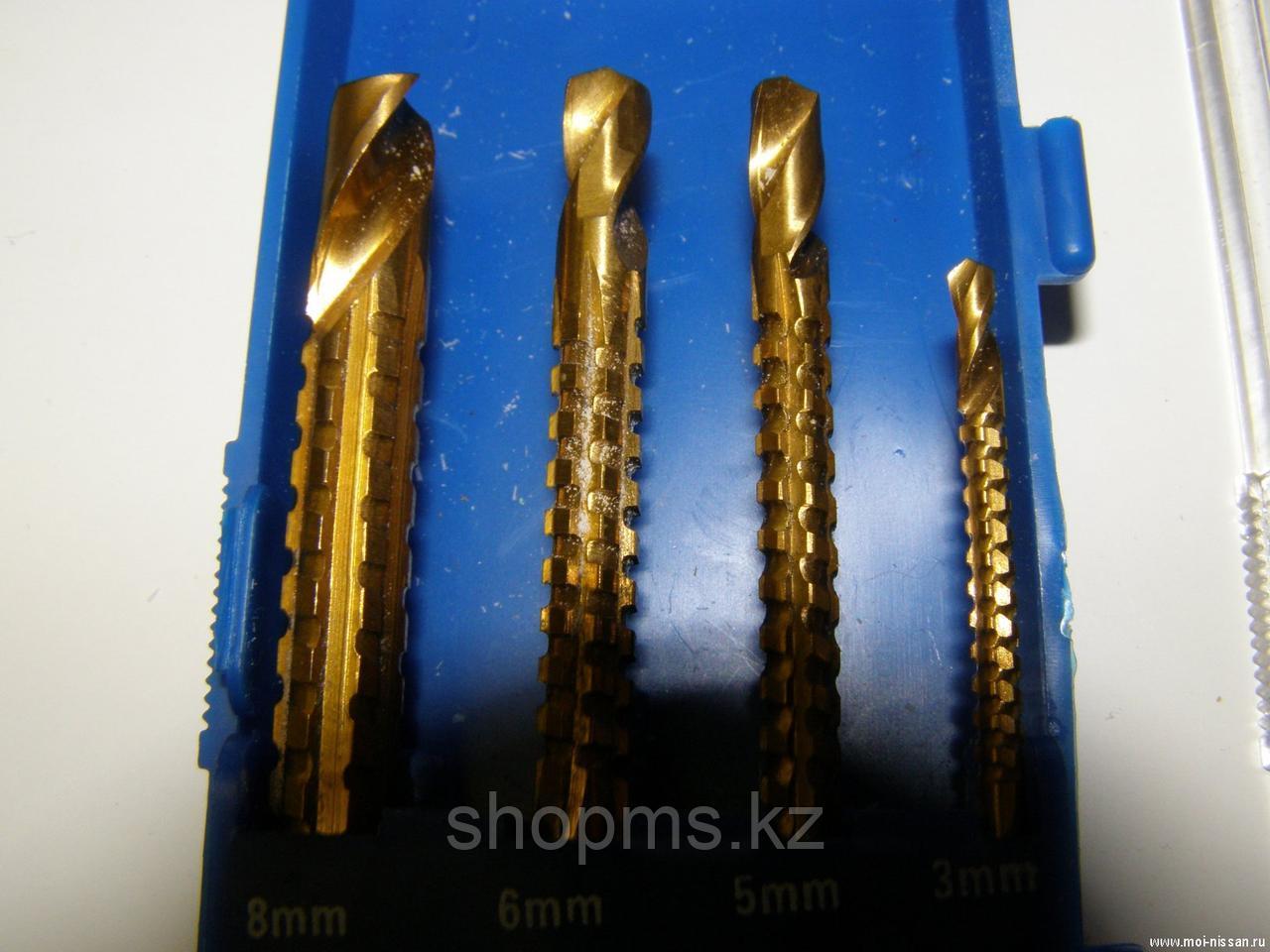 Сверло-фреза универсальное титановое покрытие, набор 4 шт. (3; 5; 6; 8 мм)