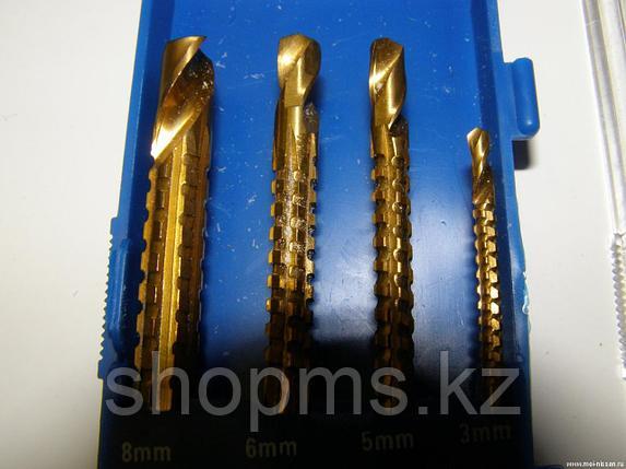 Сверло-фреза универсальное титановое покрытие, набор 4 шт. (3; 5; 6; 8 мм), фото 2
