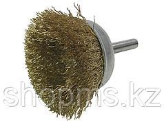 Корщетка чашечная, со шпилькой, стальная латунированная волнистая проволока 65 мм