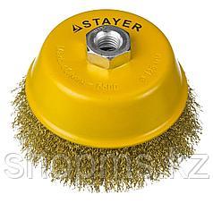 """STAYER """"PROFESSIONAL"""". Щетка чашечная для УШМ, витая стальная латунированная проволока 0,3мм, 75ммхМ"""