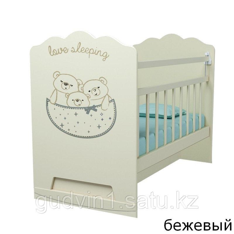 Детская кроватка ВДК Love Sleeping с маятником, с ящиком беж.